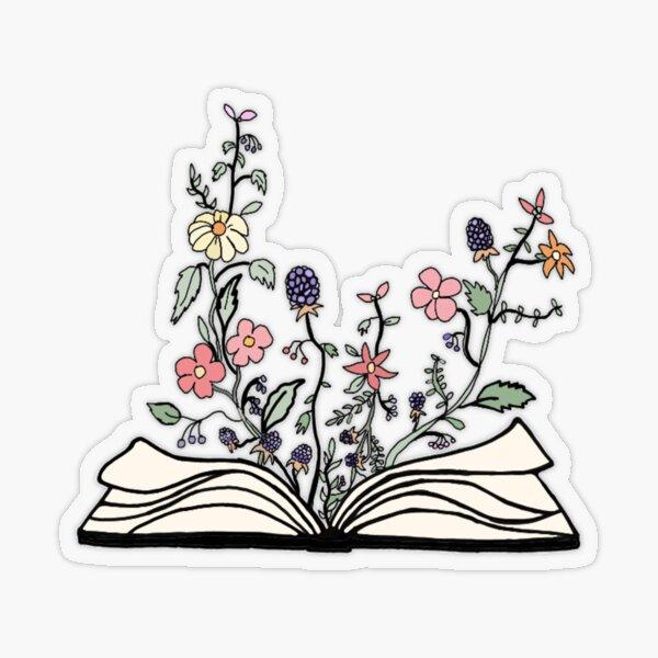 fleurs, croissant, depuis, livre Sticker transparent