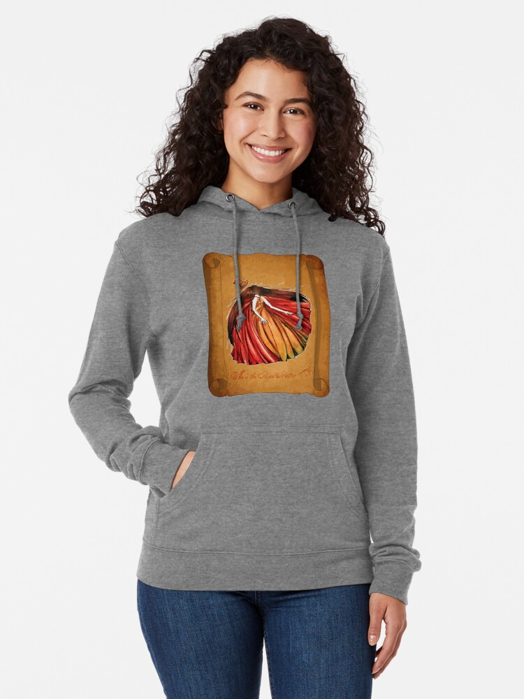 Alternate view of Who is the Mad Hatter ? Red Riding Hood Lightweight Hoodie