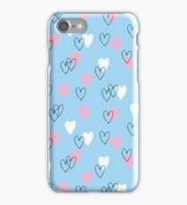 Pink and white hearts on blue background iPhone Case/Skin