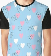 Pink and white hearts on blue background Graphic T-Shirt