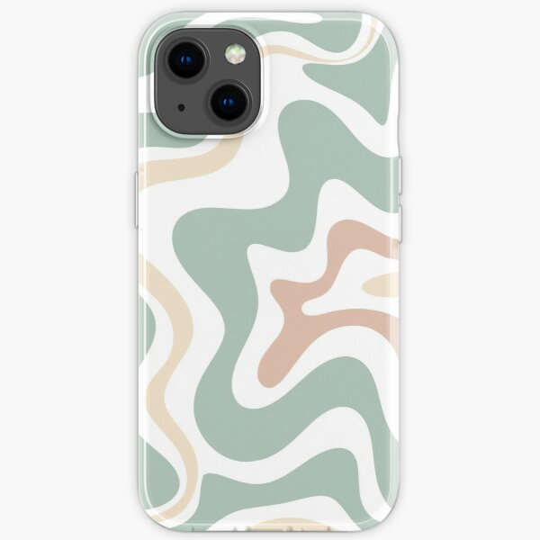 Liquid Swirl Retro Abstract in Light Sage Celadon Green, Light Blush, Cream, and White iPhone Soft Case