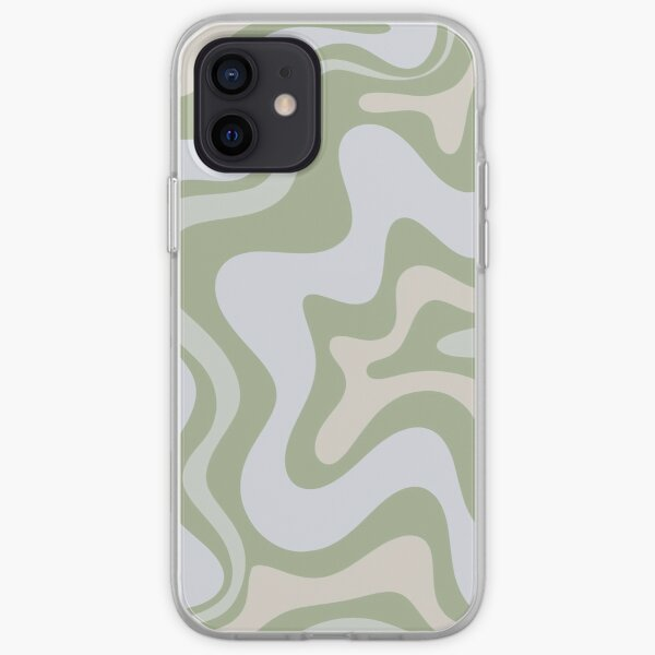 Liquid Swirl Contemporary Abstract in Light Sage Green Grey Amande Coque souple iPhone