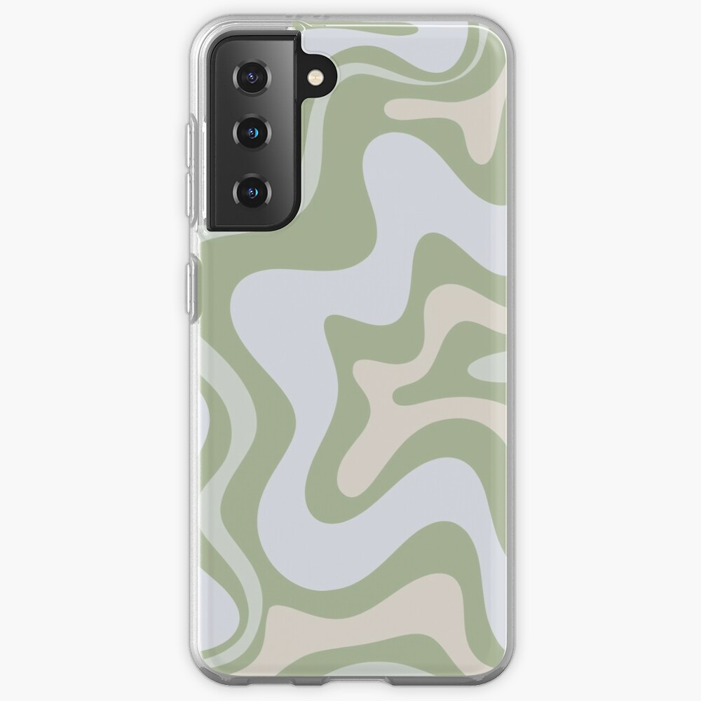 Liquid Swirl Contemporary Abstract in Light Sage Green Grey Almond Samsung Galaxy Phone Case