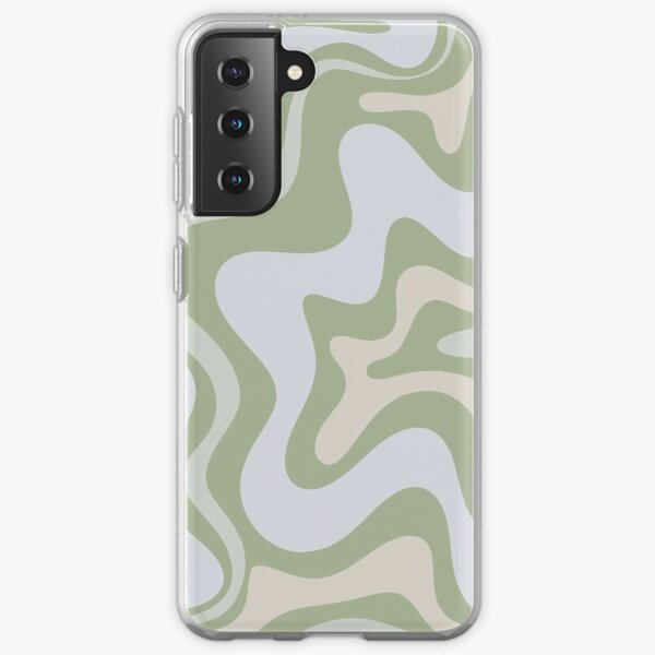 Liquid Swirl Contemporary Abstract in Light Sage Green Grey Almond Samsung Galaxy Soft Case