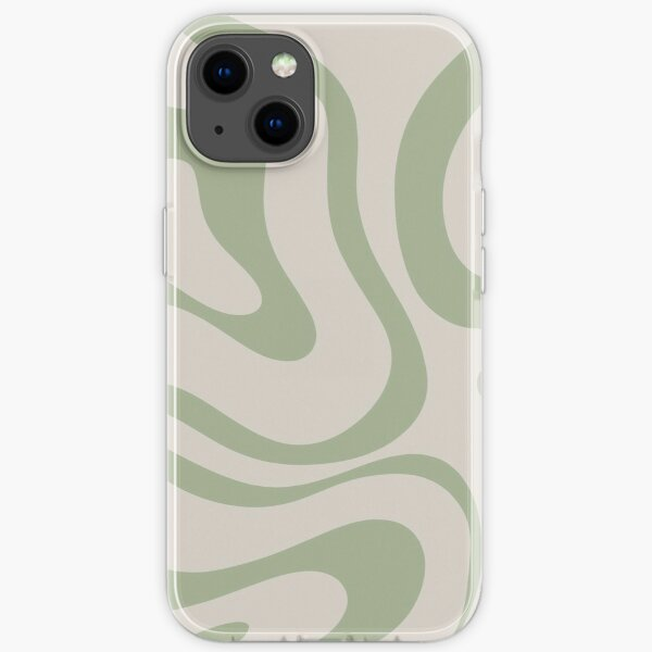 Liquid Swirl Abstract Pattern in Beige and Sage Green iPhone Soft Case