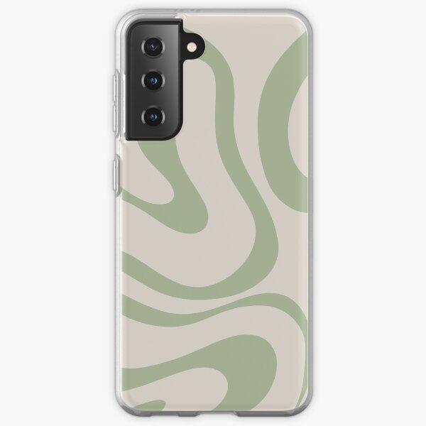 Liquid Swirl Abstract Pattern in Beige and Sage Green Samsung Galaxy Soft Case