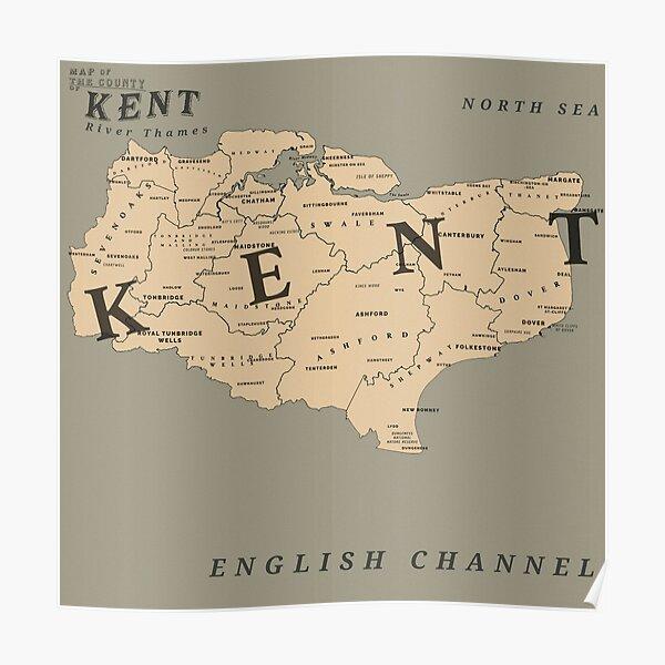 Mapa de Kent al estilo de Red Dead Redemption 2 Póster
