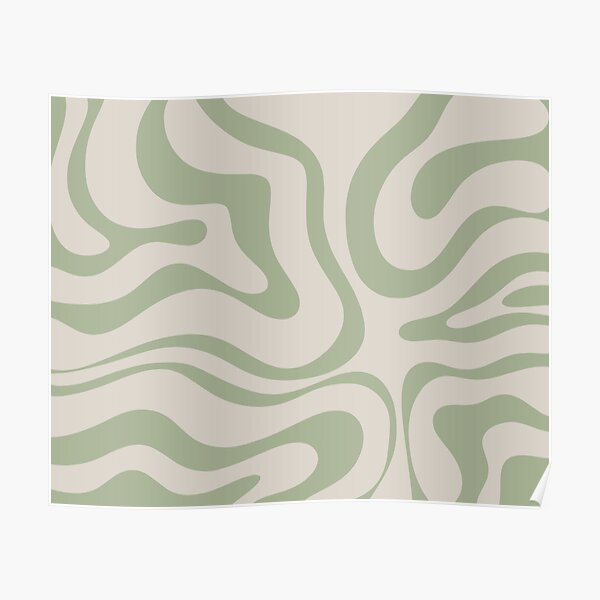 Liquid Swirl Abstract Pattern in Beige and Sage Green Poster