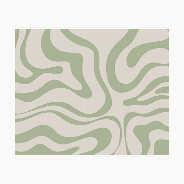 Liquid Swirl Abstract Pattern in Beige and Sage Green Photographic Print