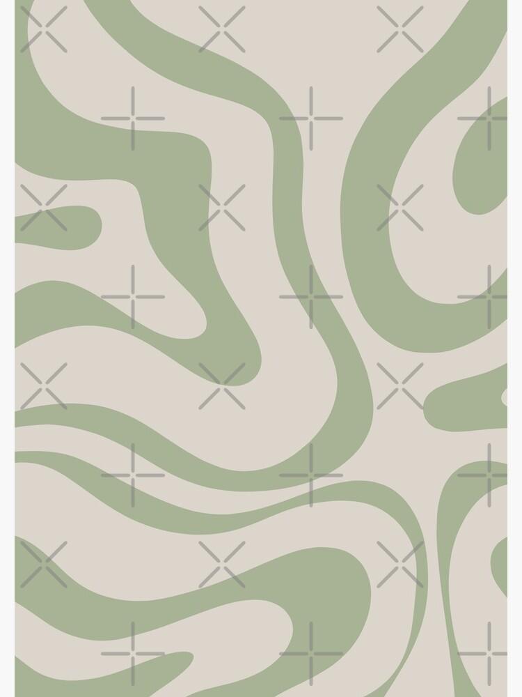 Liquid Swirl Abstract Pattern in Beige and Sage Green by kierkegaard