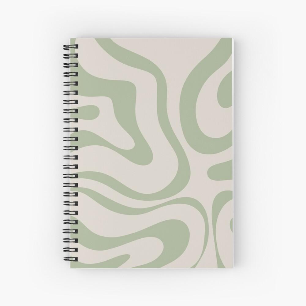 Liquid Swirl Abstract Pattern in Beige and Sage Green Spiral Notebook