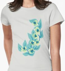 Green Flowers and Leaves Floral Print Women's Fitted T-Shirt