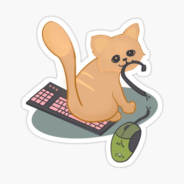Cat vs Mouse and Keyboard Sticker
