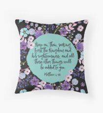 MATTHEW 6:33 (Purple Flowers) Throw Pillow