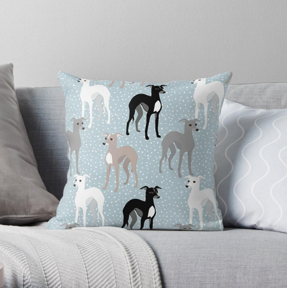 Italian Greyhounds Mid-Century Modern Pattern Throw Pillow