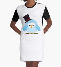 Cute Owl with Hat Graphic T-Shirt Dress