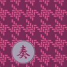 Japanese Hound's Tooth Chidorigoshi Puprle Pink Grey by Beverly Claire Kaiya