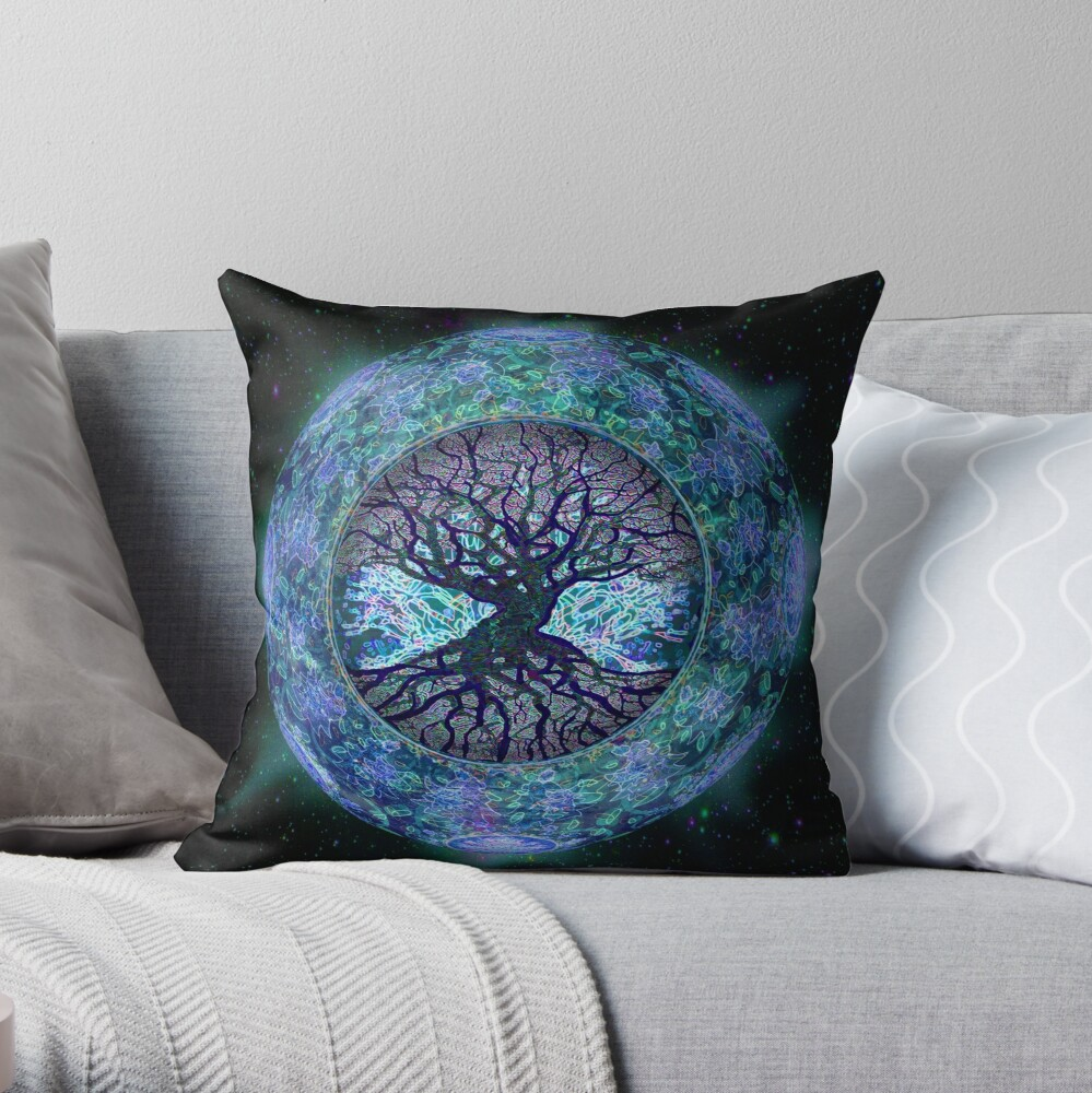 Planet Earth Circle of Life Throw Pillow