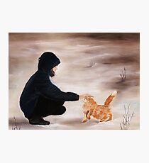 Girl and a Cat Photographic Print