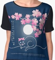 Pretty Cat Pink Japanese Sakura Cherry Blossoms Blue Night Chiffon Top