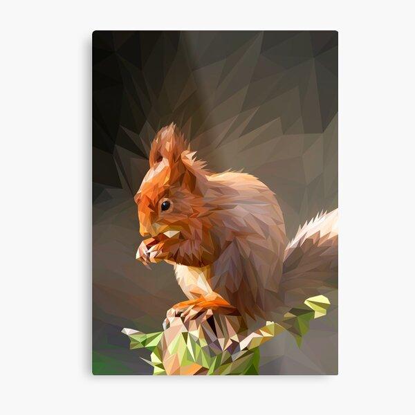 Low Poly Squirrel Metal Print