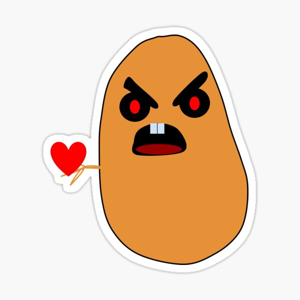 A  angry potato Holding his heart. Sticker