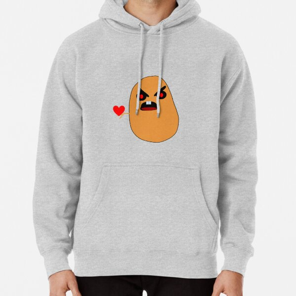 A  angry potato Holding his heart. Pullover Hoodie