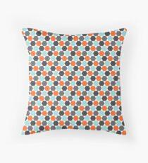Orange, aqua blue and gray hexagon pattern Throw Pillow
