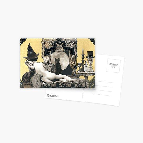 Skyclad Witch with Familiars Postcard