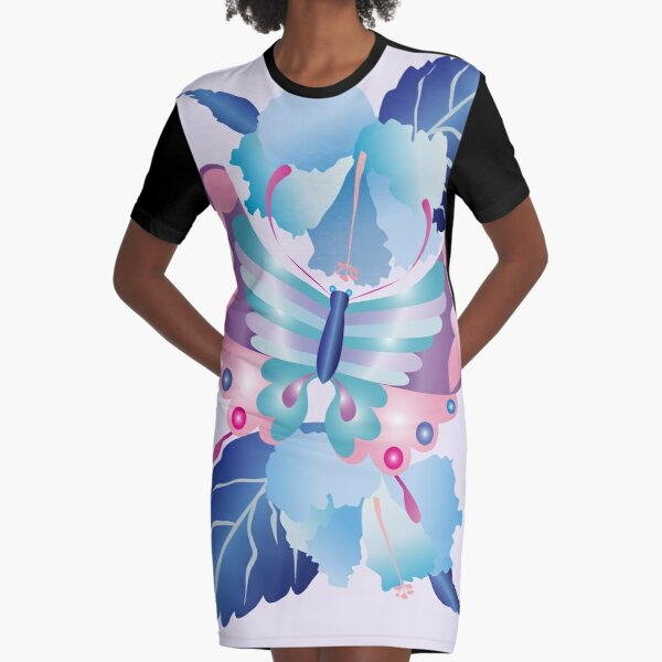 Pretty Purple Turquoise Butterfly Blue Winter Hibiscus Flowers Graphic T-Shirt Dress