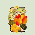 Pretty Green Autumn Butterfly Orange Hibiscus Flowers by Beverly Claire Kaiya