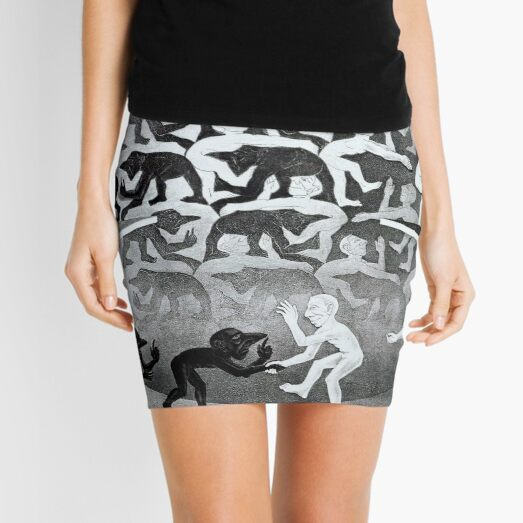 A Meeting, by Maurits Cornelis Escher Mini Skirt