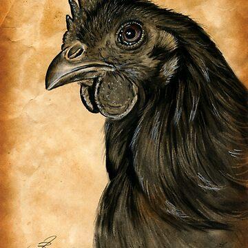 Rooster Cock Ayam Cemani Huhn Hahn Gockel by art-of-dreams