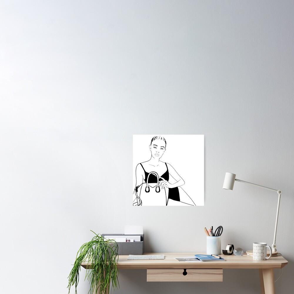 Purse & Girl Line Art Poster