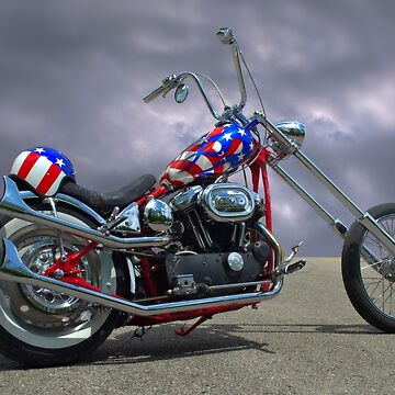 Patriotic Custom Harley Davidson Motorcycle by TeeMack