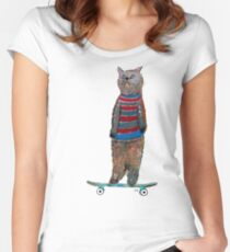 the cat skate  Women's Fitted Scoop T-Shirt