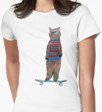the cat skate  Women's Fitted T-Shirt