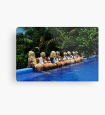 Blonde models only posing for White Tank Project - back view Metal Print