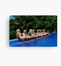 Blonde models only posing for White Tank Project - back view Canvas Print
