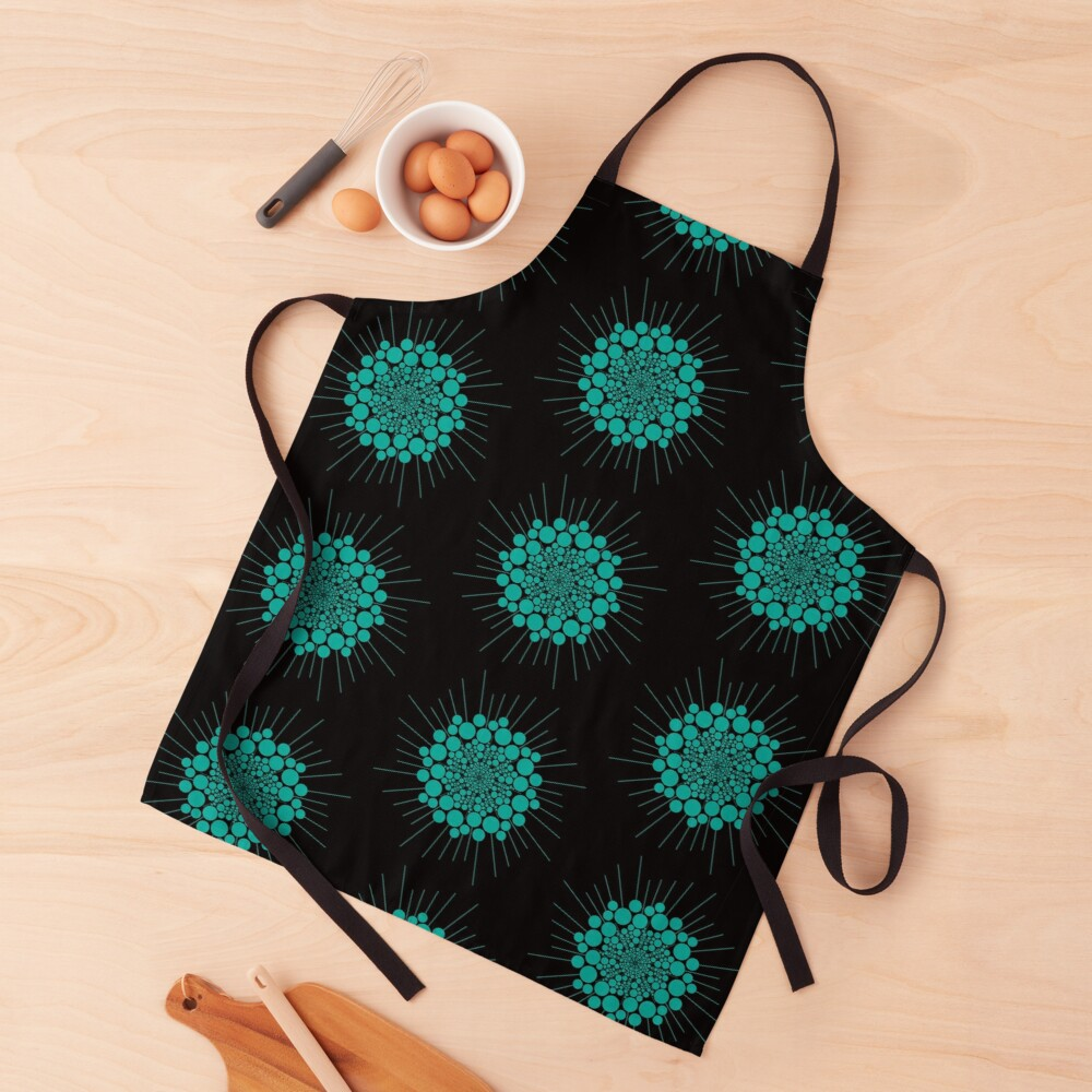 Teal Bubble Sun Abstract  Apron