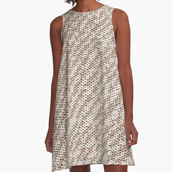 Modern Peach Brown Popular Trendy Abstract Pattern A-Line Dress