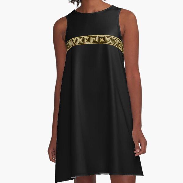 Gold Greek Key A-Line Dress