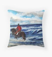 Pony in the surf Throw Pillow