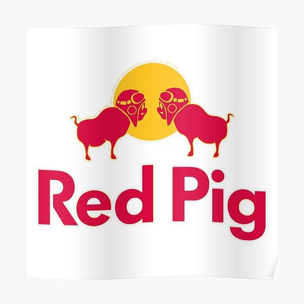 Merch de cerdo rojo Póster