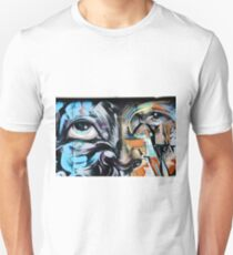 Abstract Graffiti Face on the textured brick wall Unisex T-Shirt