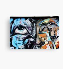 Abstract Graffiti Face on the textured brick wall Canvas Print