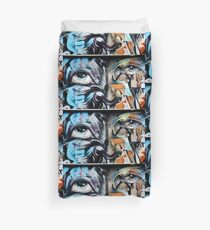 Abstract Graffiti Face on the textured brick wall Duvet Cover