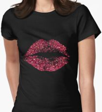 Stylish Red Glitter Lips Women's Fitted T-Shirt