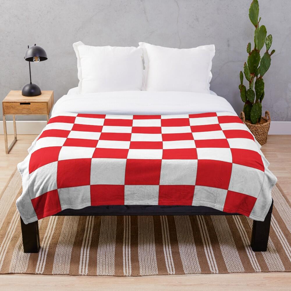 Shahovnia Sahovnica Croatian Checkerboard Hrvatsko Checky Throw Blanket