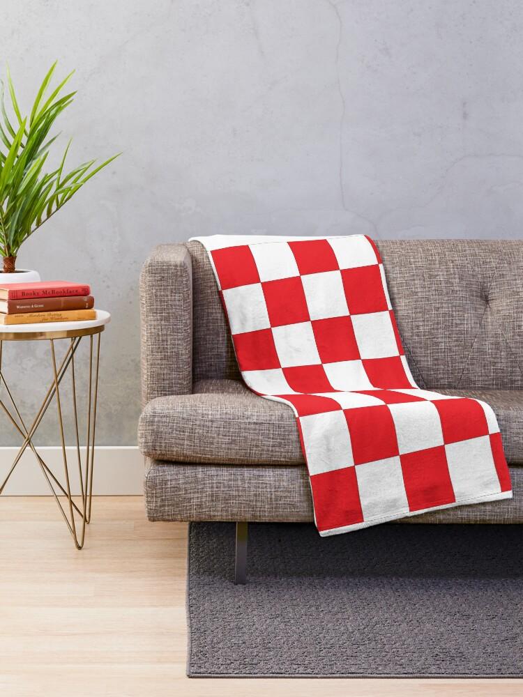 Alternate view of Shahovnia Sahovnica Croatian Checkerboard Hrvatsko Checky Throw Blanket